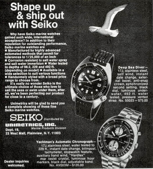 Seiko ad featuring 6138 Yachtman's and the Deep Sea Diver