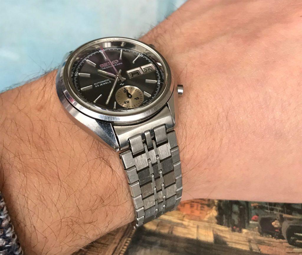 Seiko 7018 on an extended bracelet