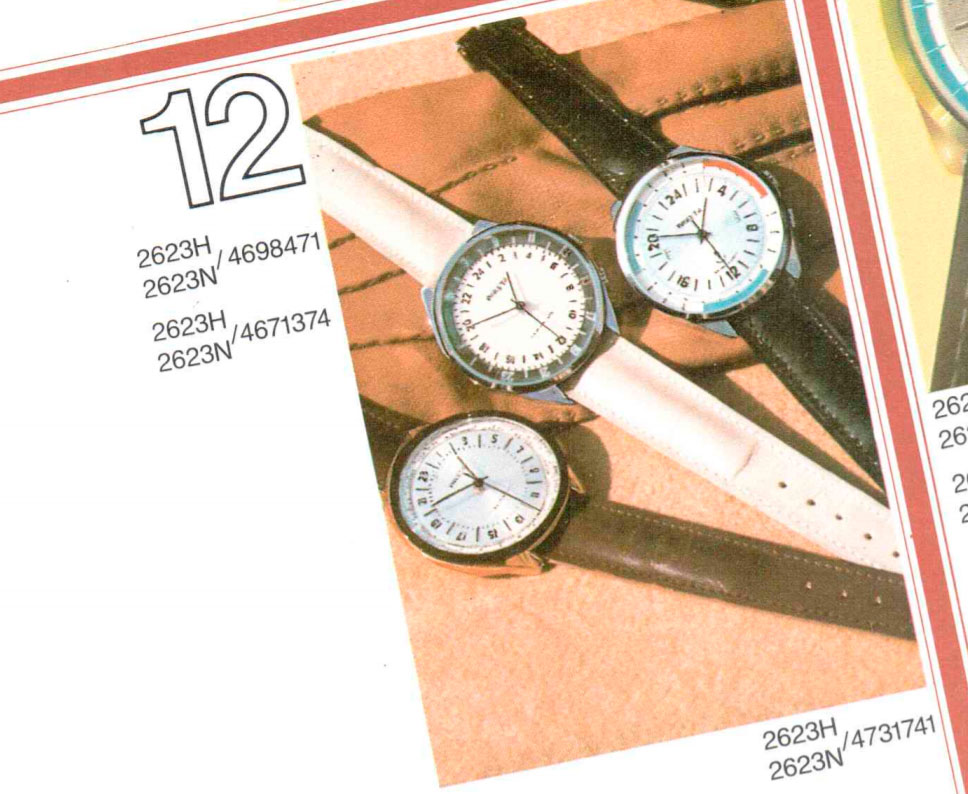 Raketa 24-hour watches featured in a catalog