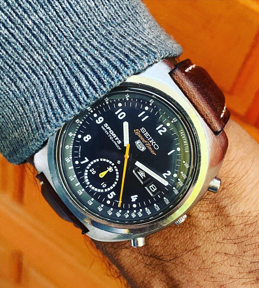 Seiko 6139-7010 Military Black Dial