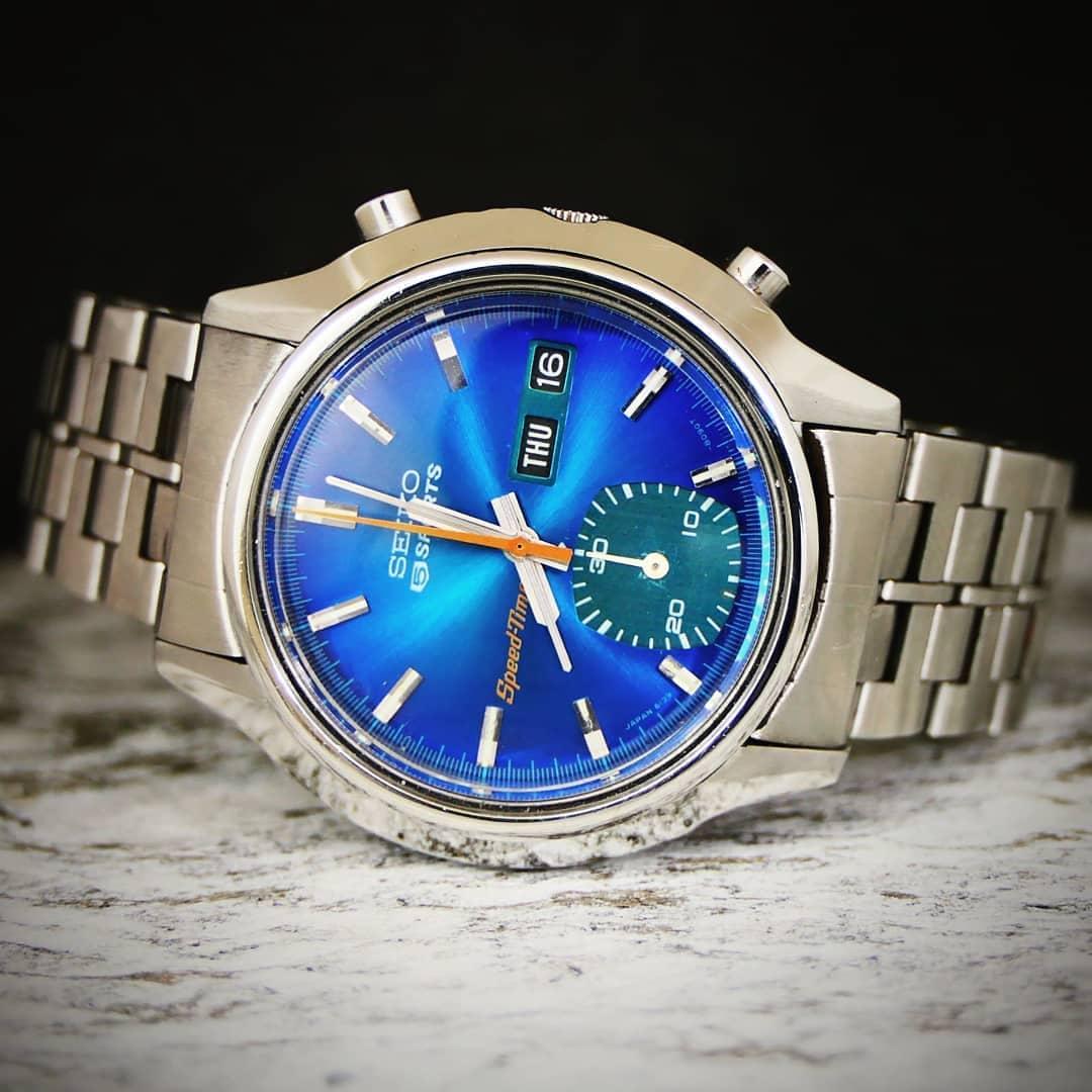 Seiko 6139-8050 Blue Dial