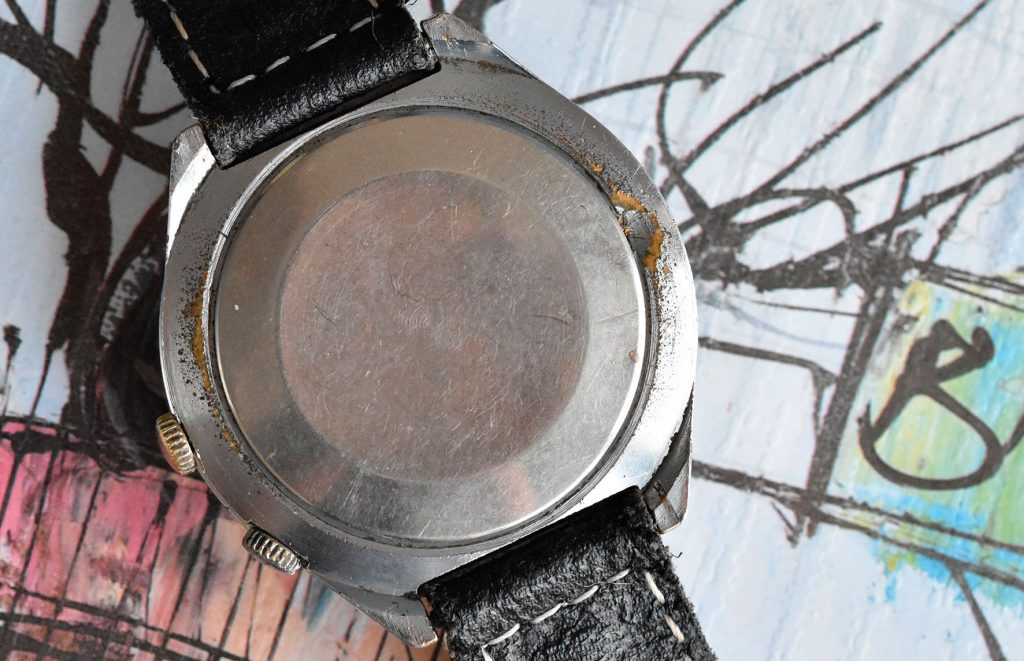 This chrome-plated case shows some serious signs of wear