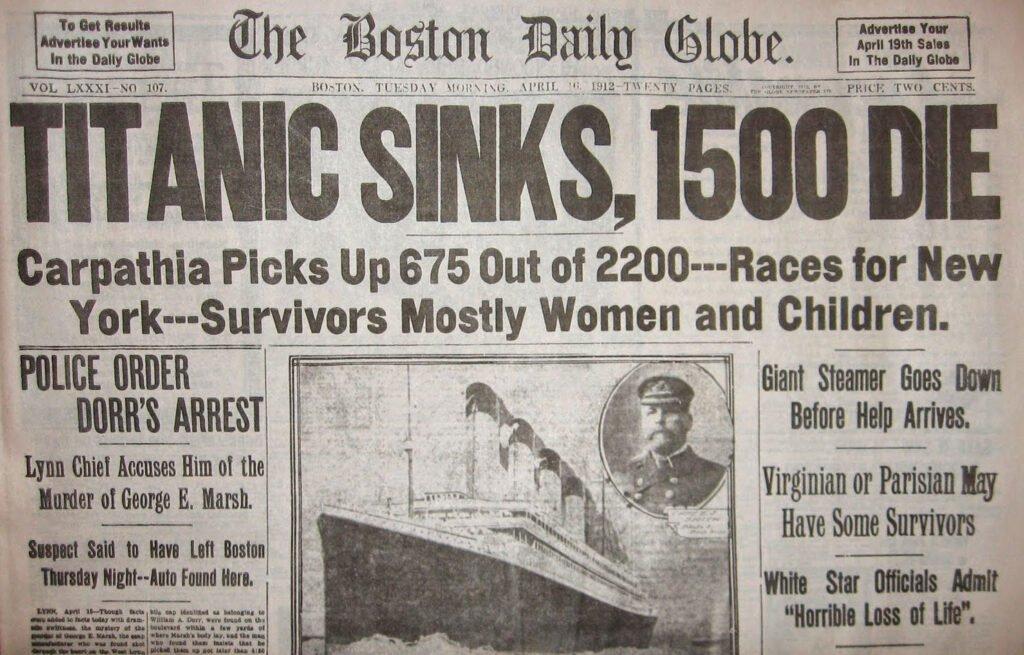 Titanic sinks: The Boston Daily Globe headline